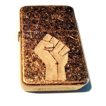 Vector KGM Thunderbird Custom Lighter - Power to the People Revolution Fist Logo Antique Copper Rust Brown High Polish Rare!