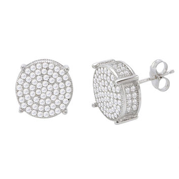 Sterling Silver Cubic Zirconia Mens Stud Earrings Pave 3d Sidestones 12mm