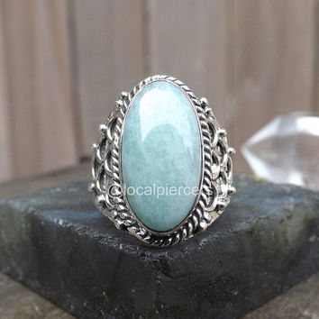 Size 7 Aquamarine Ring Oval Green Blue Gemstone 925 Genuine Sterling Silver Boho Ring Vintage Rings Natural Emerald Jewelry March Birthstone