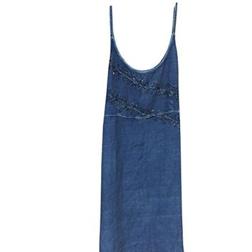 Womens Strap Top Blue Embriodered Sexy Dress M