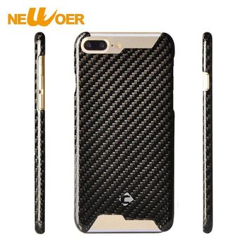 For iPhone 8 Plus Case 100% Real Carbon Fiber Cover 5.5 inch Phone Shell + Tempered Glass Screen Protector Newoer