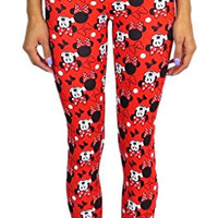 Disney Minnie Mouse Juniors Leggings Small Red