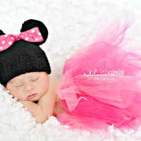 Crochet Inspired Minnie Mouse Hat and Tutu by handmadebychhunneang