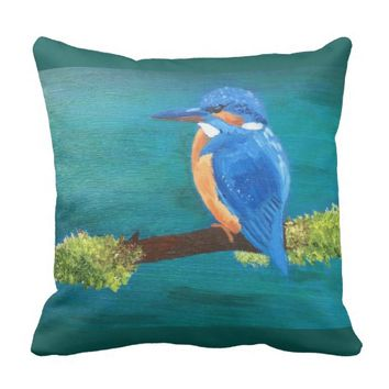 Kingfisher throw cushion