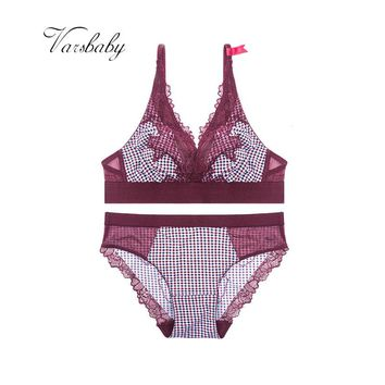 Ladies Sexy Lace Wire Free Underwear Unlined Plaid Adjusted-straps Bra Sets