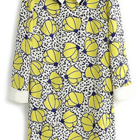 ROMWE Floral Print Crop Sleeves Yellow Shift Dress