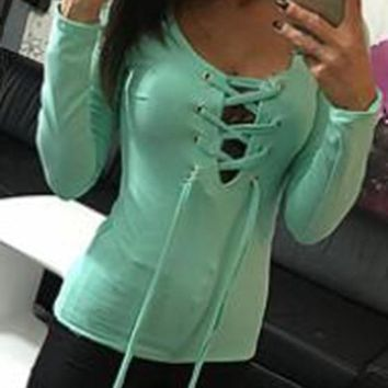 Green Drawstring Lace-Up V-neck Long Sleeve T-Shirt