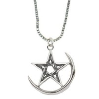 The Pentacle and Moon in Sterling Silver Made in America