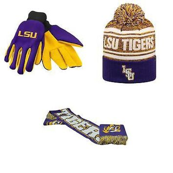 Licensed NCAA LSU Tigers Spirit Scarf Driven Beanie Hat And Grip Work Glove 3Pk 34336 KO_19_1