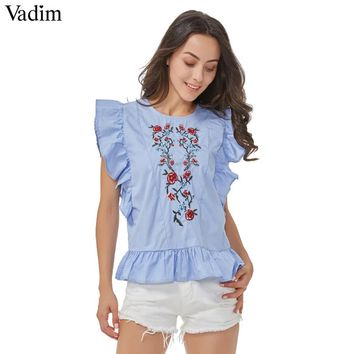 Women sweet ruffles floral embroidery beading shirts sleeveless back cut out blouse casual tops