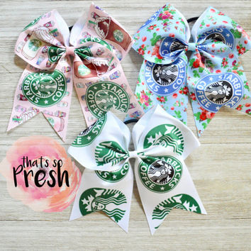 Starbucks Cheer Bow, Cheer Bows, Cheerleading Gifts, Cheer Bows Cheap, Starbucks, Starbucks party, Starbucks Birthday, Cheer Bow Starbucks