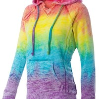 Koloa Surf Co. Womens Rainbow Stripe V-Neck Burnout Hoodies in Sizes S-2XL