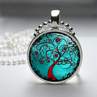Round Glass Bezel Pendant Tree Pendant Tree Necklace With Silver Ball Chain (A3173)