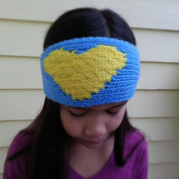 "Hand Knit San Diego Chargers Inspired ""I Love My Team"" Headband for Women and Children (8+)"