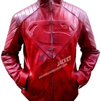 Superman Smallville Red Waxed Leather Jacket