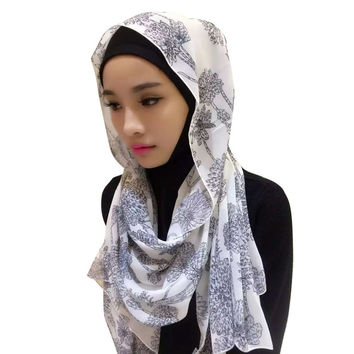 Women Chiffon Arab Muslim Headwear Print Head Cover Hijab Islamic Scarf Boho Shawl Headscarf Y03 SM6