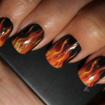 REAL FLAMES Full Nail Decals - Harley Motorcycle - Hot Rod Nail Wraps Nail Art Water Slide Transfers Nail Stickers