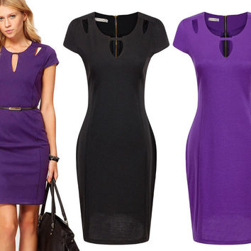 2016 Hot New Womens Elegant O-Neck Tunic Wear To Work Business Dress Ladies Casual Party Stretch Pencil Sheath Dresses