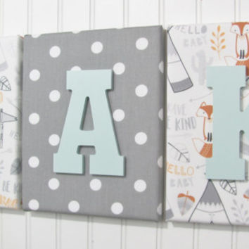 Tribal Nursery Decor, Fox Nursery, Fox Nursery Letters, Tee Pee, Tribal, Fox Letters, Tribal Letters, Nursery Decor, Tribal Decor, Baby Boy
