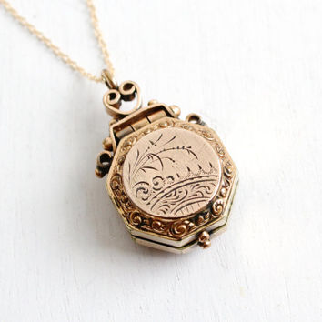 Antique Victorian Etched Locket Necklace - Late 1800s Gold Filled Fob Vintage Jewelry with Original Photograph of Woman