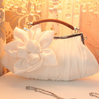 Women Handbag white Wedding stain silk Flower bridal/bridesmaid Bag Women Clutch/prom/party/shoulder Bag Free Shipping