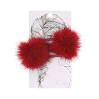 Red Fluffy Pom Pom Hair Clips - Red