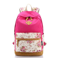 Women's Canvas Rose Floral Travel Backpack Daypack Bookbag for Teen Girls