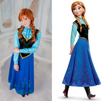 Anna Elza  Frozen Disney Cosplay Dress Costume Princess Russia