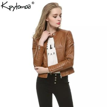 Vintage Faux Leather PU Motorcycle Biker Bomber Jacket Coat Women 2018 Fashion Long Sleeve Ladies Outerwear Casual Casaco Femme