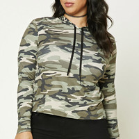 Plus Size Hooded Army Sweater