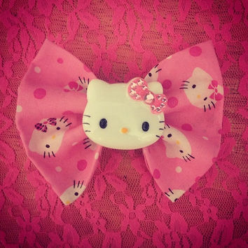 Hello Kitty Cabochon Hair Bow Barrette by littledevildecoxo