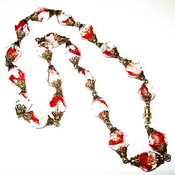 "Venetian Glass Beads Red & White Brass Filigree Caps Barrel Clasp 20"" L Vintage"