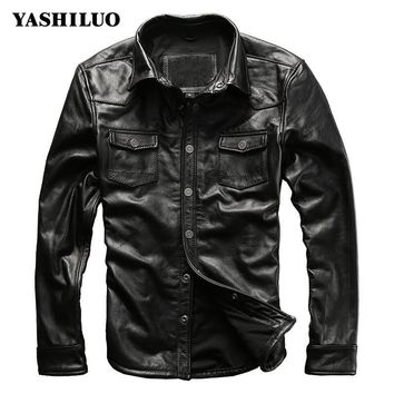2017 New Spring Single Breasted Slim Fit Mens Cow Genuine Leather Jackets Turn Down Collar Motorcycle For Male Coat Blouson Moto