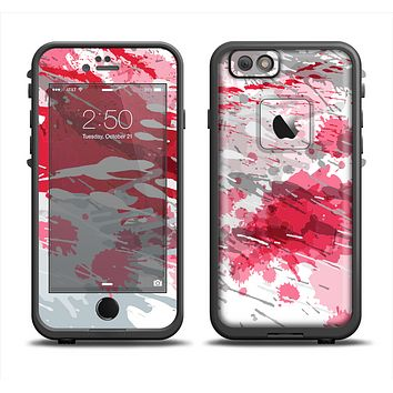 The Abstract Red, Pink and White Paint Splatter Skin Set for the Apple iPhone 6 LifeProof Fre Case
