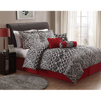 Pem America CS8682QN7-1300 Lace Texture Black and White Seven-Piece Queen Comforter Set