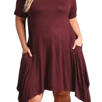 Burgundy Short Sleeve Pocket Style Plus Size Jersey Dress