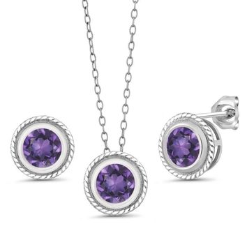 2.25 Ct Round Amethyst Gemstone 925 Silver Pendant Earrings Set