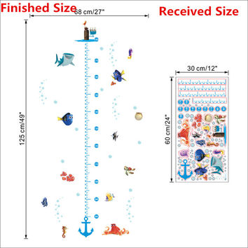 Cartoon Nemo Underwater Fish Turtle Bubble Height Wall Stickers For Kids Rooms Height Measure Chart Wall Decals Room Decor Gift SM6