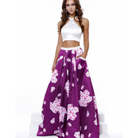 Preorder -  Floral Print Halter Two Piece Long Satin Gown 2016 Prom Dresses