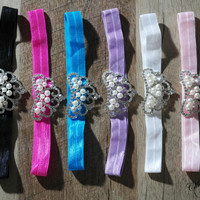 Princess Tiara Pearl Rhinestone Crown Baby Headbands