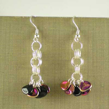 Shimmery Modern Dangle Drop Earrings Contemporary Style Black & Purple Glass Petal Beads Silver Plated UK Handmade 10027