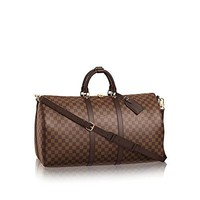 Keepall Bandouliere Style Damier 55 cm Canvas Crossbody Bag with Removable Strap