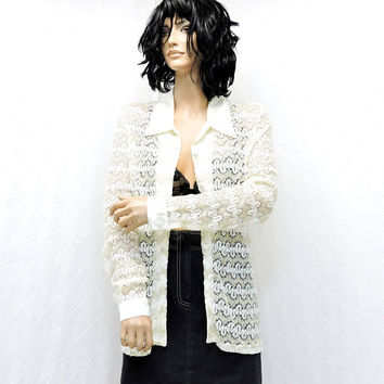 White lace blouse / size M / Marshall-Rousso Las Vegas / lace crochet white / gold shirt / sheer lace blouse / SunnyBohoVintage