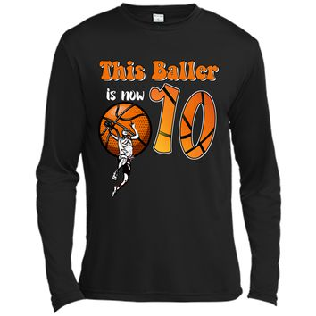 10th Birthday Basketball T-Shirt Funny 10 Years Old Gift Long Sleeve Moisture Absorbing Shirt