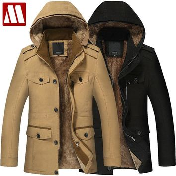 Plus Size 5XL 6XL New Men's Long Trench Coat 100% Cotton Hoodies Thick Winter Warm Jacket Fur Lining Coats Men Hooded Parka F058