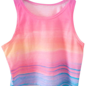 Color Gradients Print Sleeveless Cropped Top