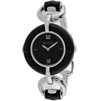 Gucci Women's YA132405 Bamboo Round Silver-tone Stainless Steel Bracelet Watch (Color: Black)