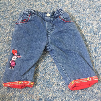 DISNEY Pooh & Piglet blue deinim jeans trousers 0-3 Months Baby Girls Clothes