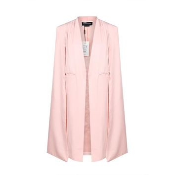 Women Casual Open Front Blazer Suits with Pocket Cape Trench Coat Duster Coat Longline Cloak Poncho Coat
