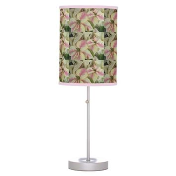Pink and Cream Poinsettia Holiday Desk Lamp